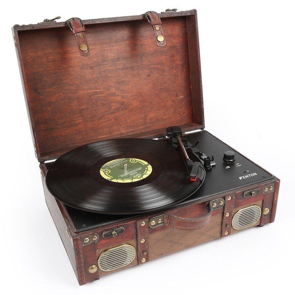 Afbeelding van Fenton RP140 platenspeler in luxe lederen koffer met speakers...