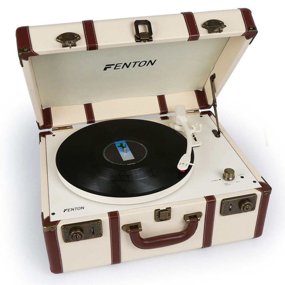 Afbeelding van Fenton RP145 witte retro platenspeler in koffer met ingebouwde speaker...