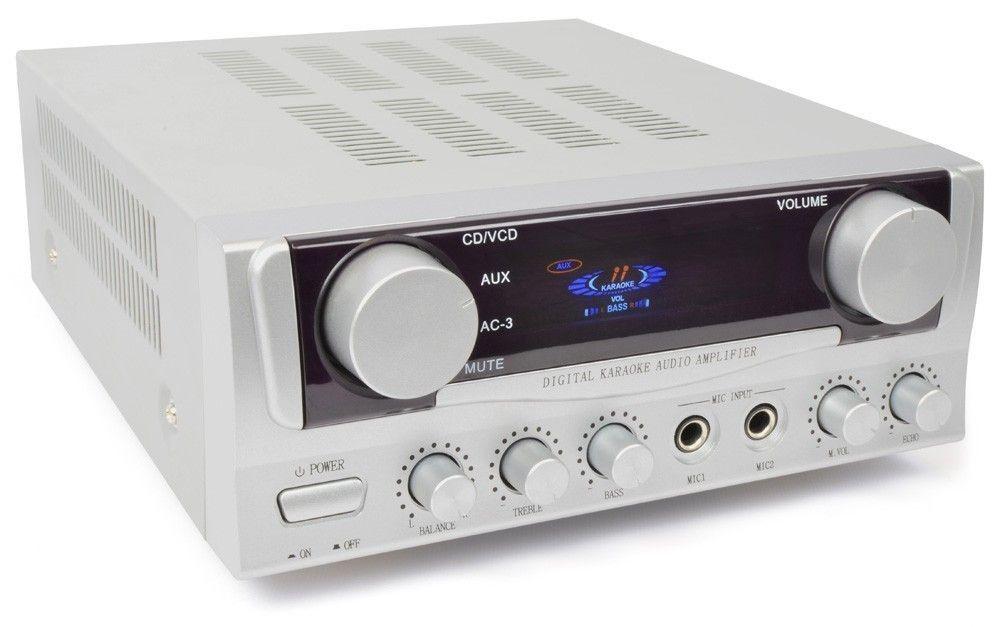 Afbeelding van 2e keus - SkyTronic zilvergrijze stereo versterker met twee microfooni...