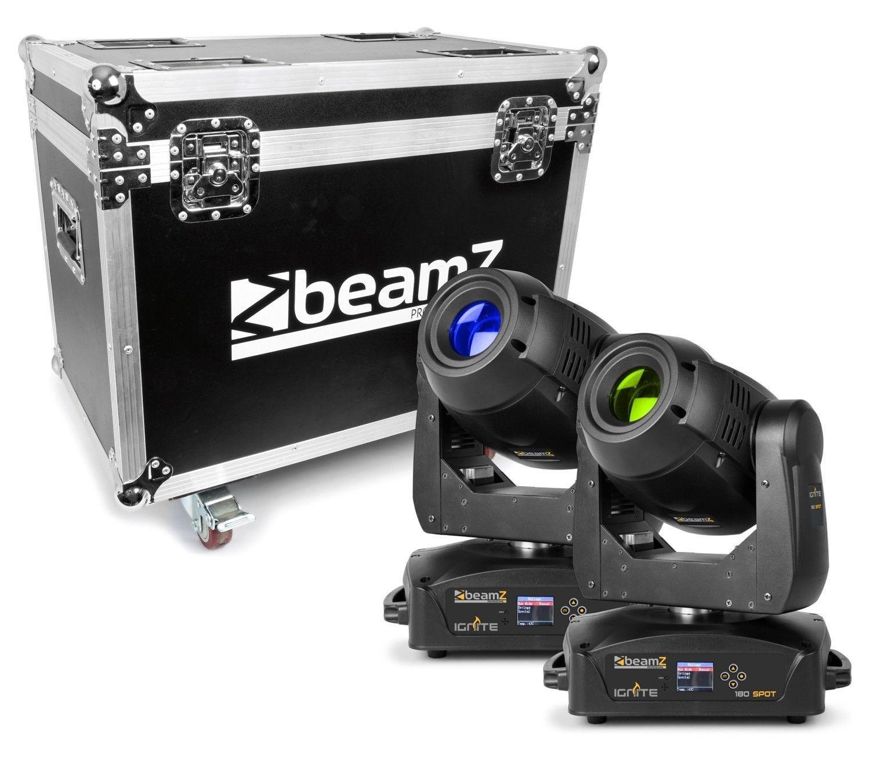 Set van 2 BeamZ IGNITE180 spot LED Moving Heads in flightcase