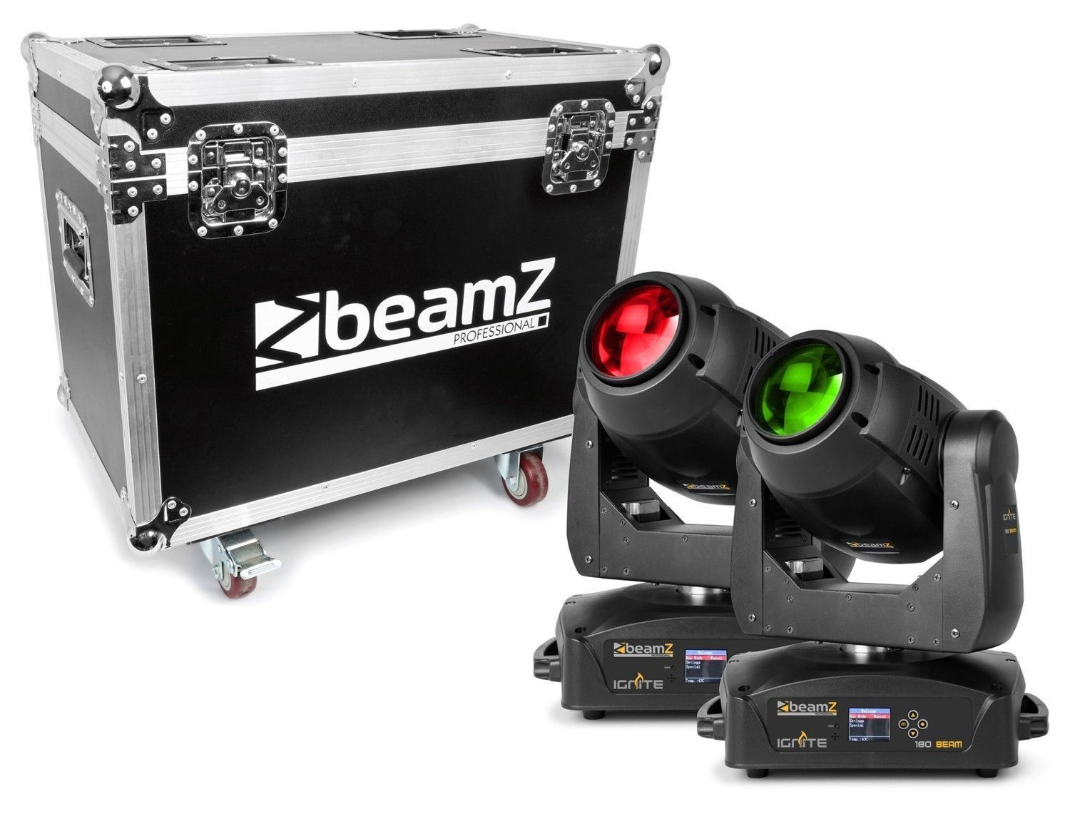 Set van 2 BeamZ IGNITE180B LED Moving Heads in flightcase