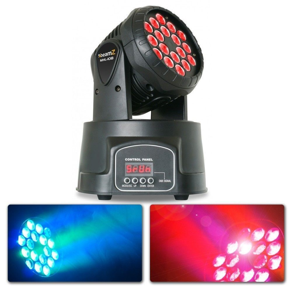 BeamZ MHL108MK3 Compacte moving head 18x 3W RGB LEDs