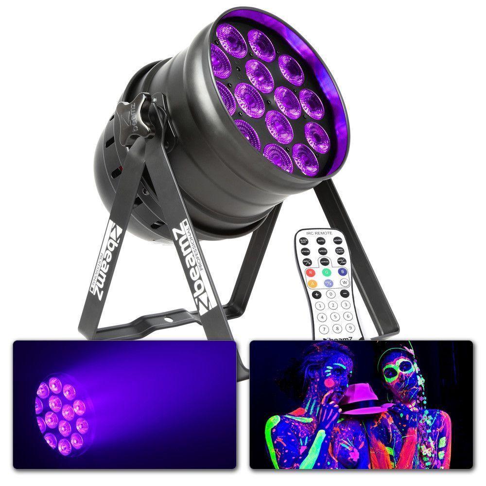 Afbeelding van BeamZ BPP230 LED UV Blacklight PAR 64 met remote en DMX...