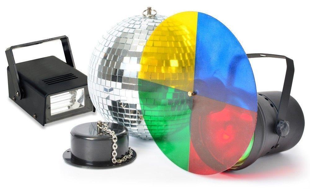 Disco Lichteffect met 20cm spiegelbol, puntspot en stroboscoop