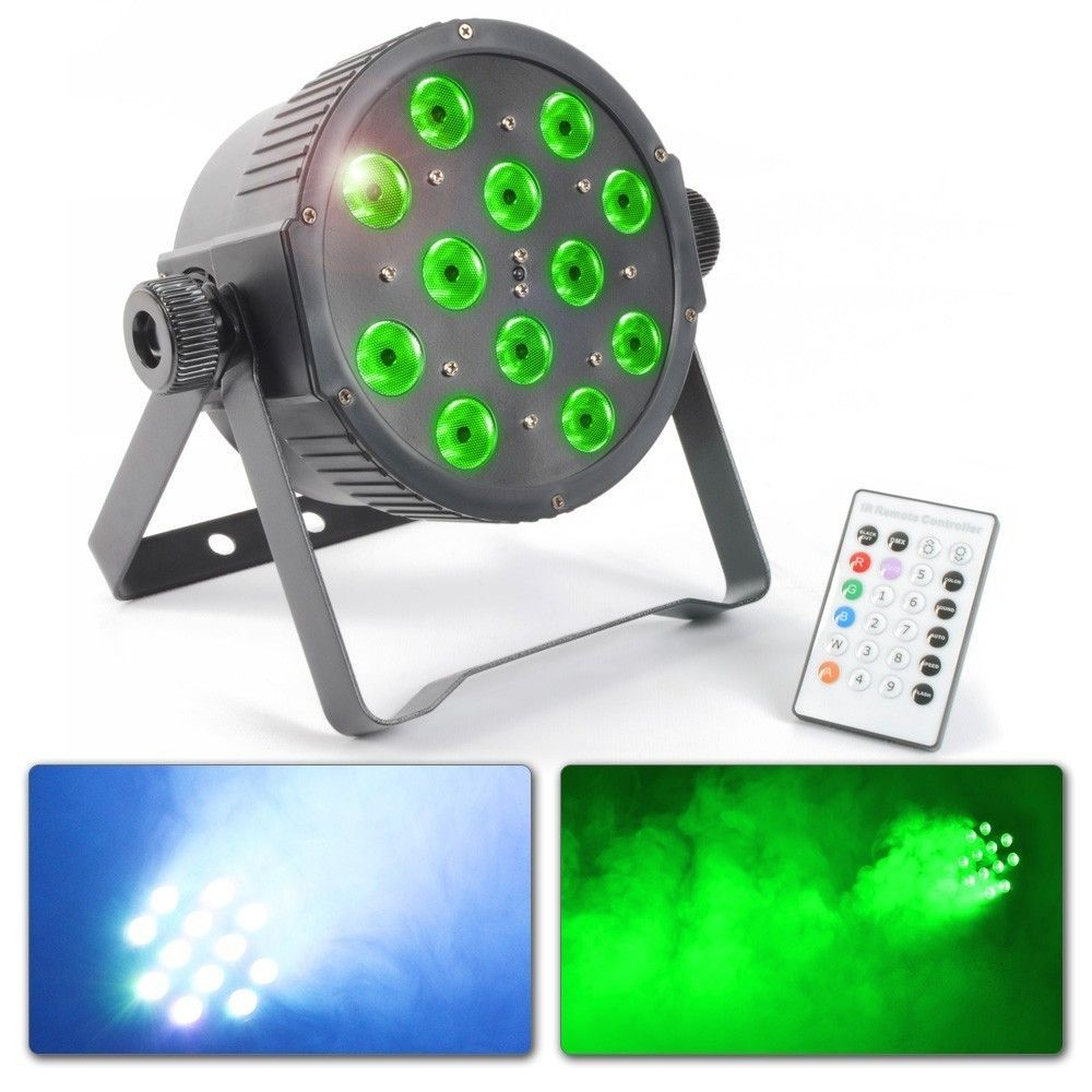 BeamZ DMX FlatPAR met 12x 3W Tri-colour LED's incl. afstandsbediening