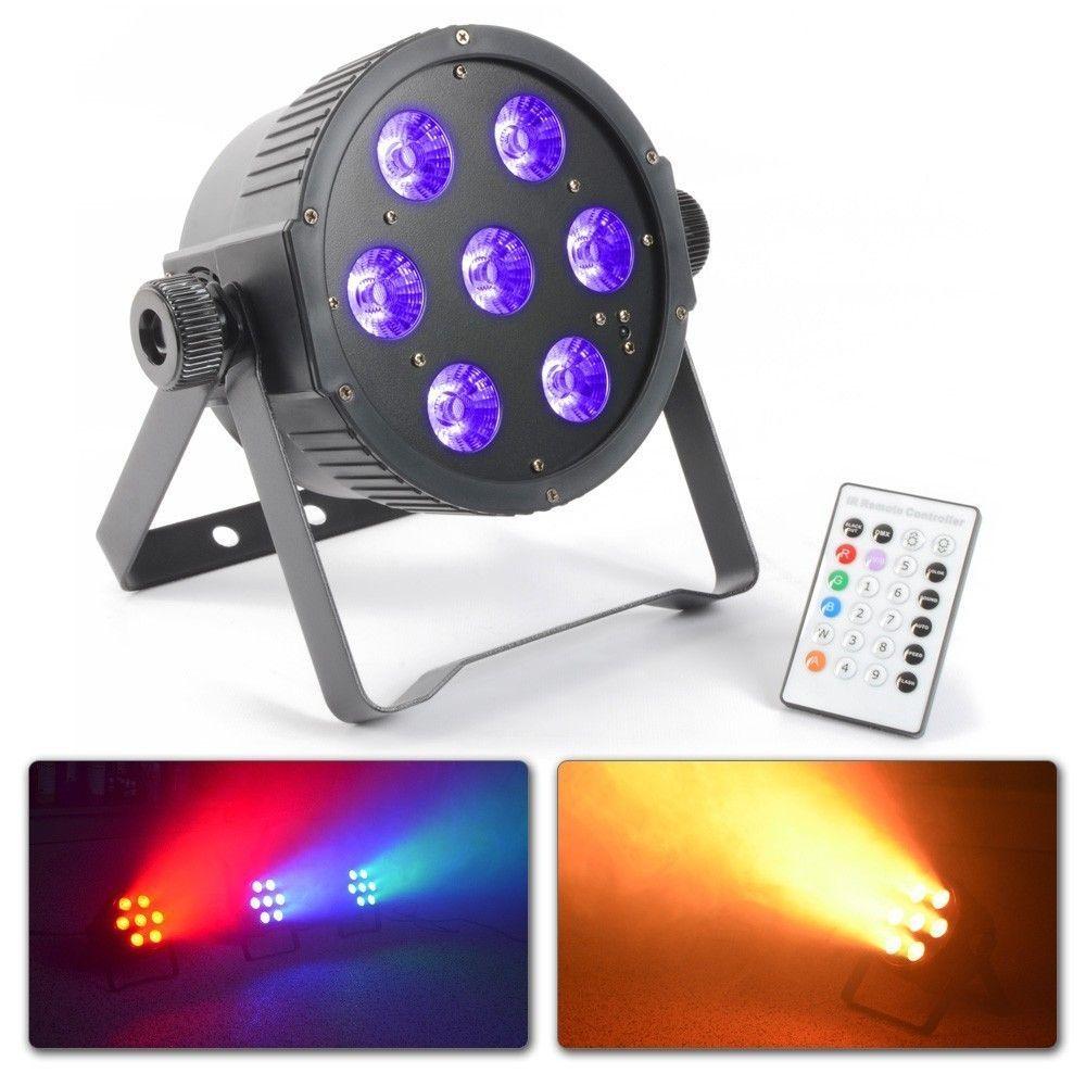 BeamZ RGBAW & UV FlatPAR met 7x 18W (6-in-1) HEX LED's, DMX en IR remote