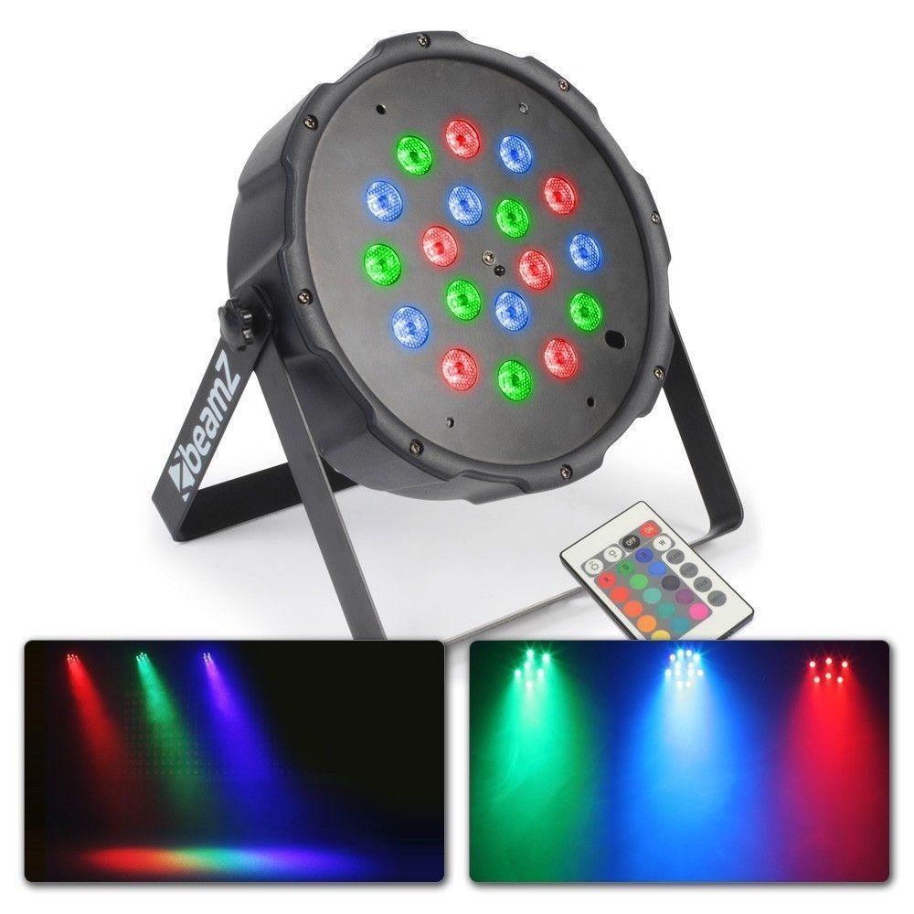 Dagaanbieding: BeamZ LED Spot FlatPAR 18x 1W met DMX en afstandsbediening