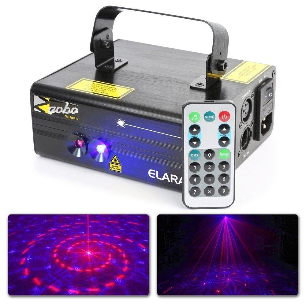 BeamZ Elara Dubbele Laser 300mW Rood Blauw met gobo's, remote en DMX