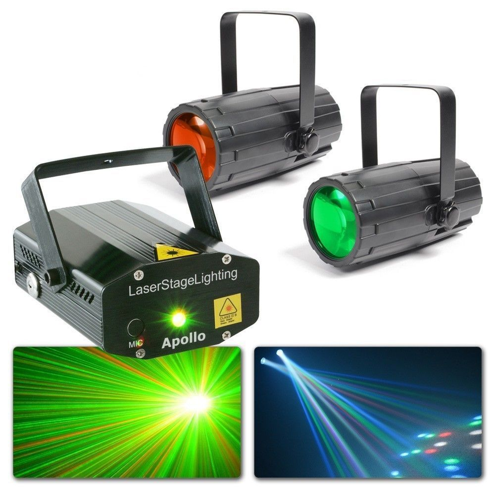 Afbeelding van 2e keus - BeamZ Disco Lampen met laser - Twee Moonflowers & Apollo Las...