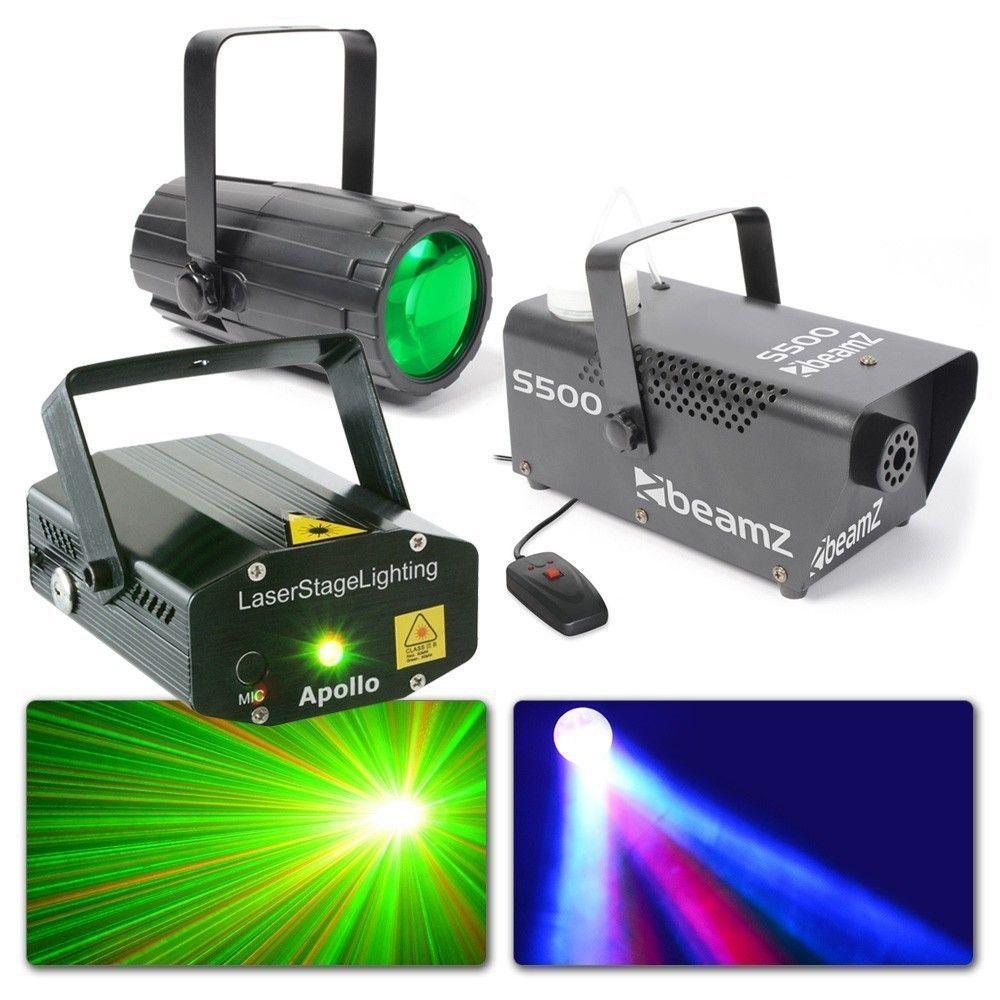 BeamZ Licht Kit 3 - Moonflower, Rood/Groene Laser en Rookmachine