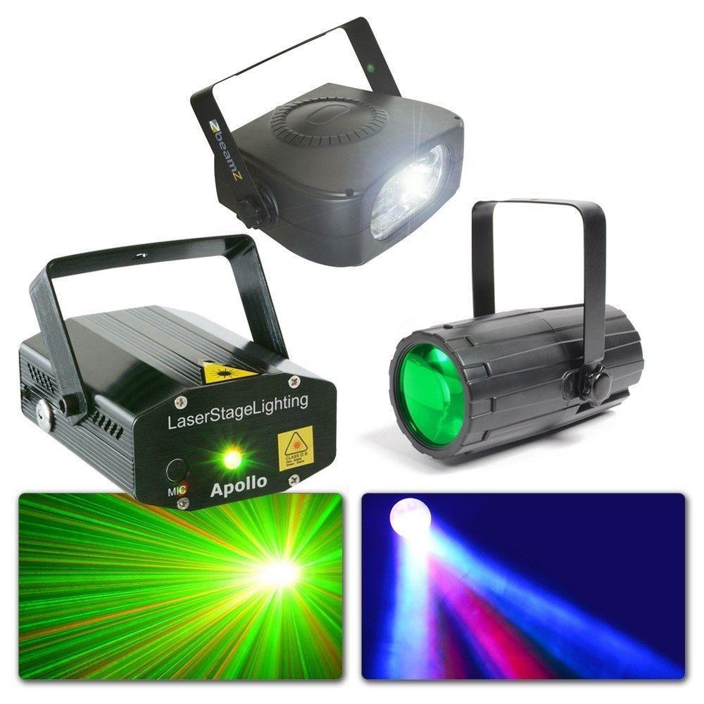 BeamZ Licht Kit 4 - Moonflower, Rood/Groene Laser en Stroboscoop