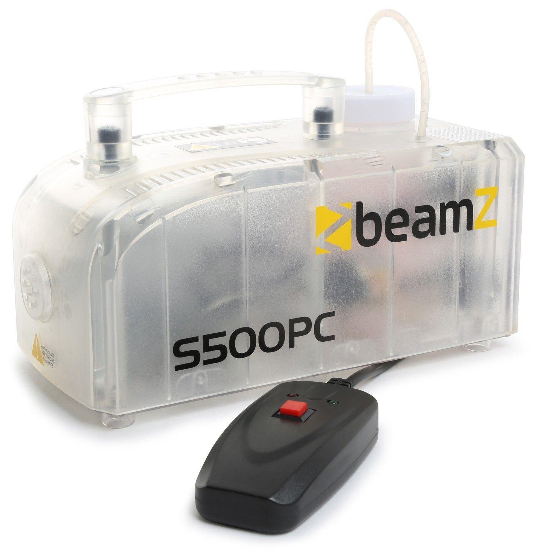 BeamZ S500PC transparante kunststof rookmachine met lichteffect