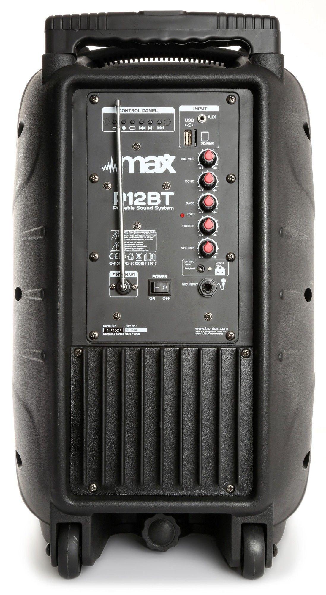 MAX P12BT Mobiele speaker 12 inch met bluetooth thumbnail