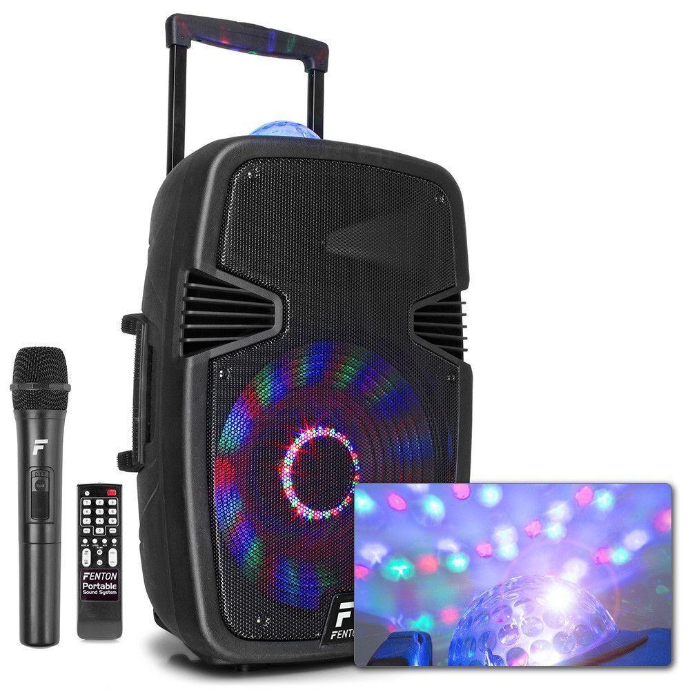 """Afbeelding van Fenton FT15JB karaoke speaker 800W 15"""" met LED lichteffecten..."""
