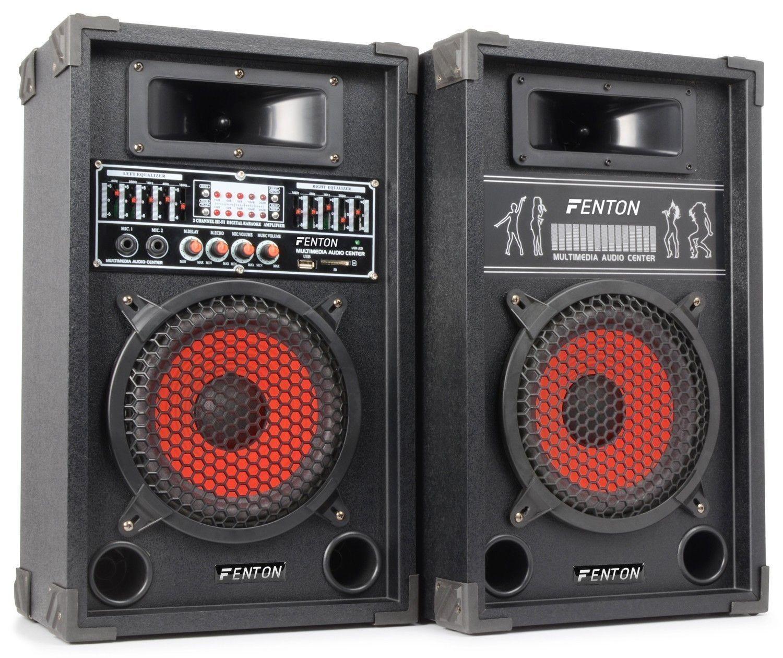 Dagaanbieding: Fenton SPA-800 Actieve PA Karaoke Luidspreker Set 8″ 600W met USB MP3