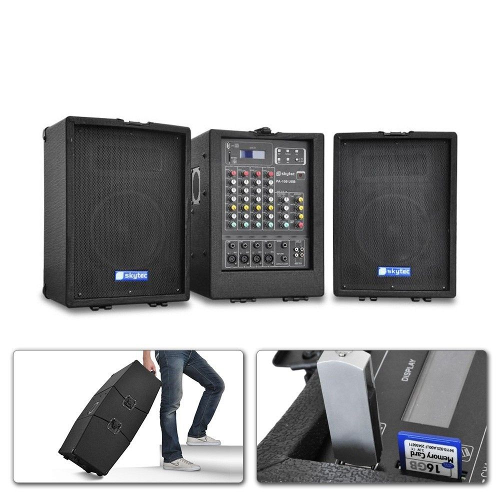 Skytec PA-100USB Mobiele Geluidsinstallatie USB-SD-MP3 2x 300W