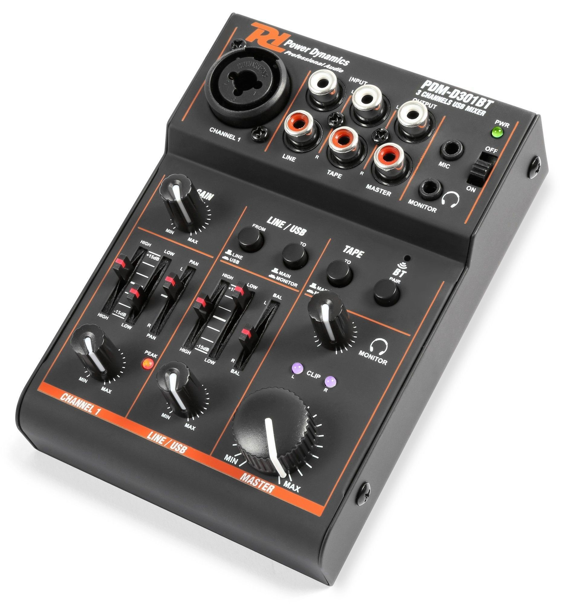 Power Dynamics PDM-D301BT 3-Kanaals USB en Bluetooth mixer