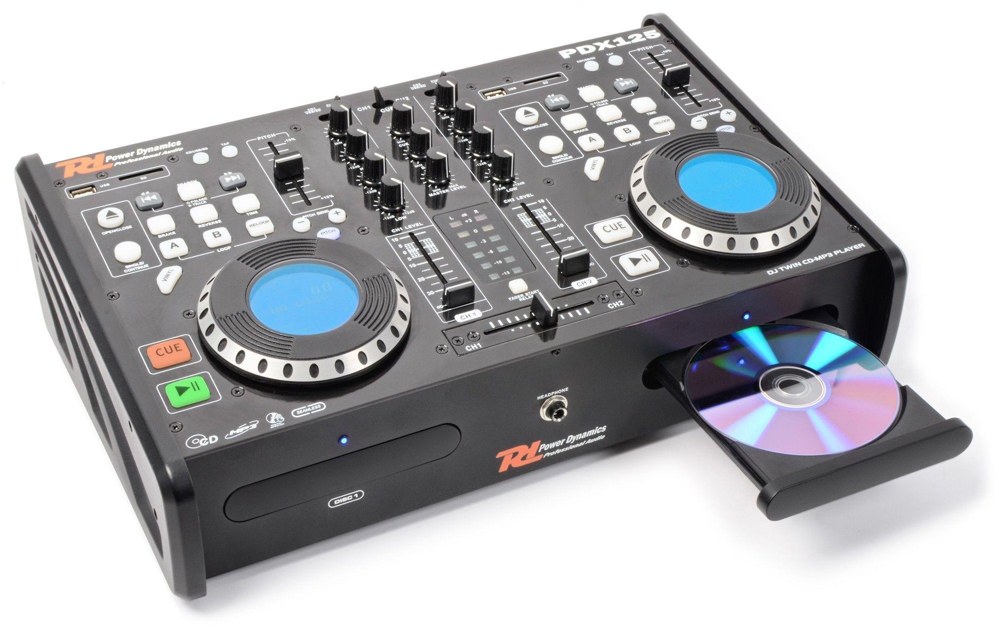 Power Dynamics PDX125 dubbele CD/USB/CD/MP3 speler en mixer