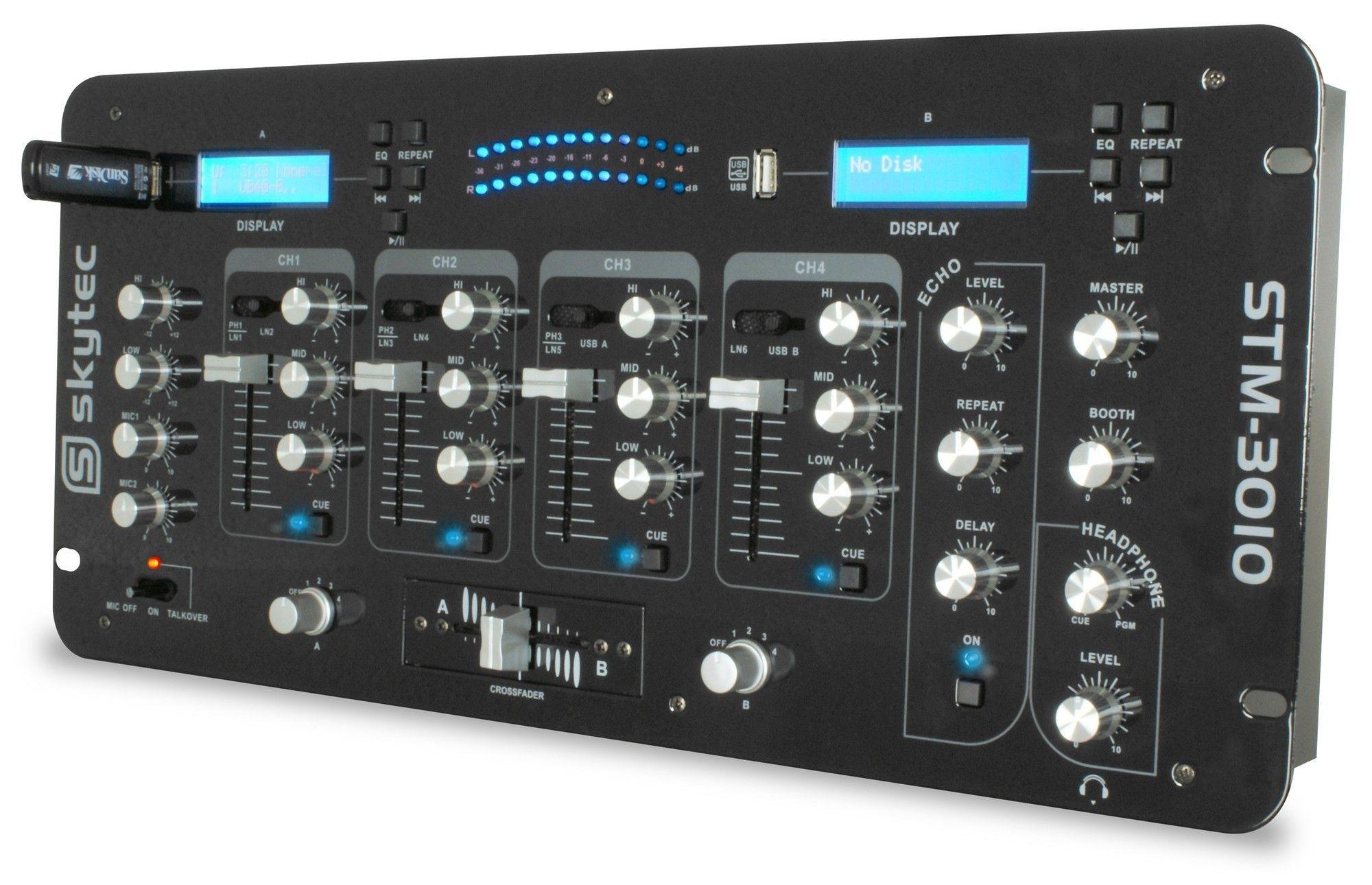 SkyTec STM-3010 4 Kanaals DJ mengpaneel met 2 x USB