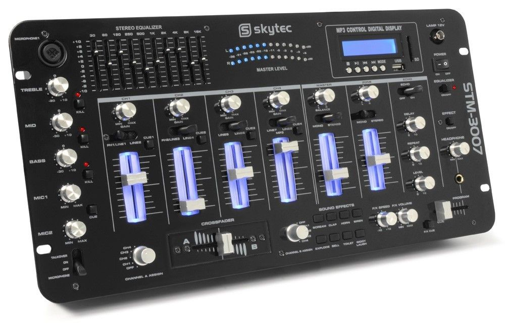 SkyTec STM-3007 6-Kanaals Mixer SD/USB/MP3/LED/Bluetooth 19