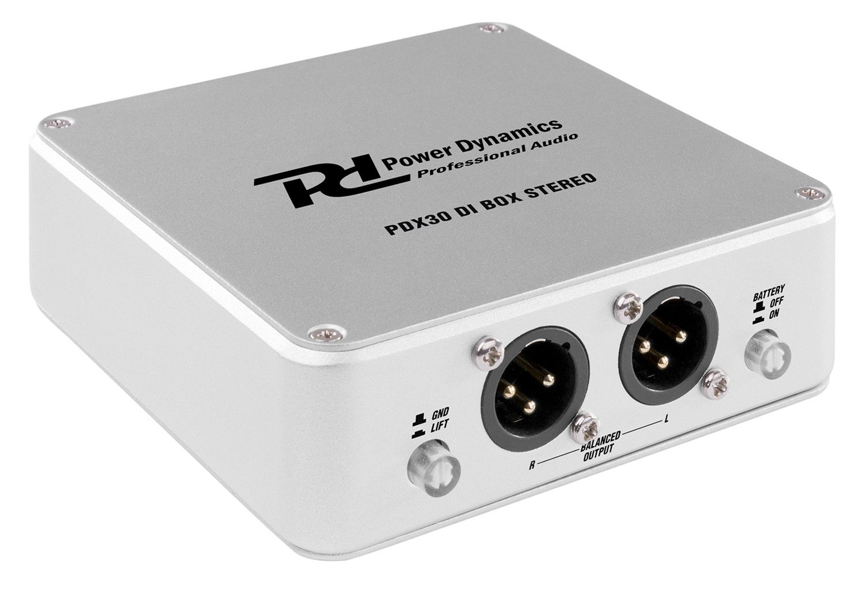 Power Dynamics PDX30 actieve stereo DI box (Phantom of 9V batterij)