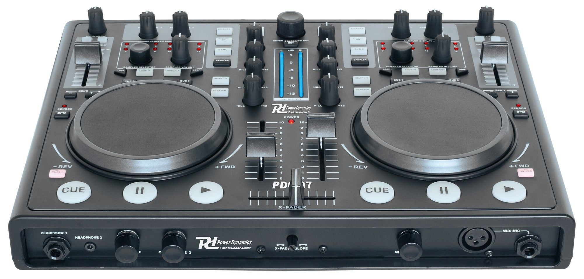 Power Dynamics PDC-07 DJ MIDI controller met geluidskaart & Virtual DJ Software