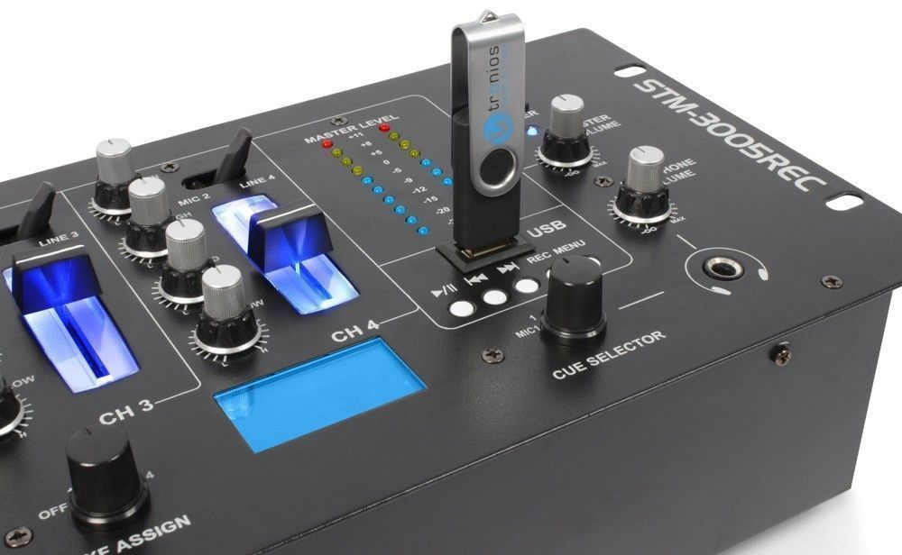 SkyTec STM-3005REC 4-Kanaals Mixer EQ USB-MP3 Record