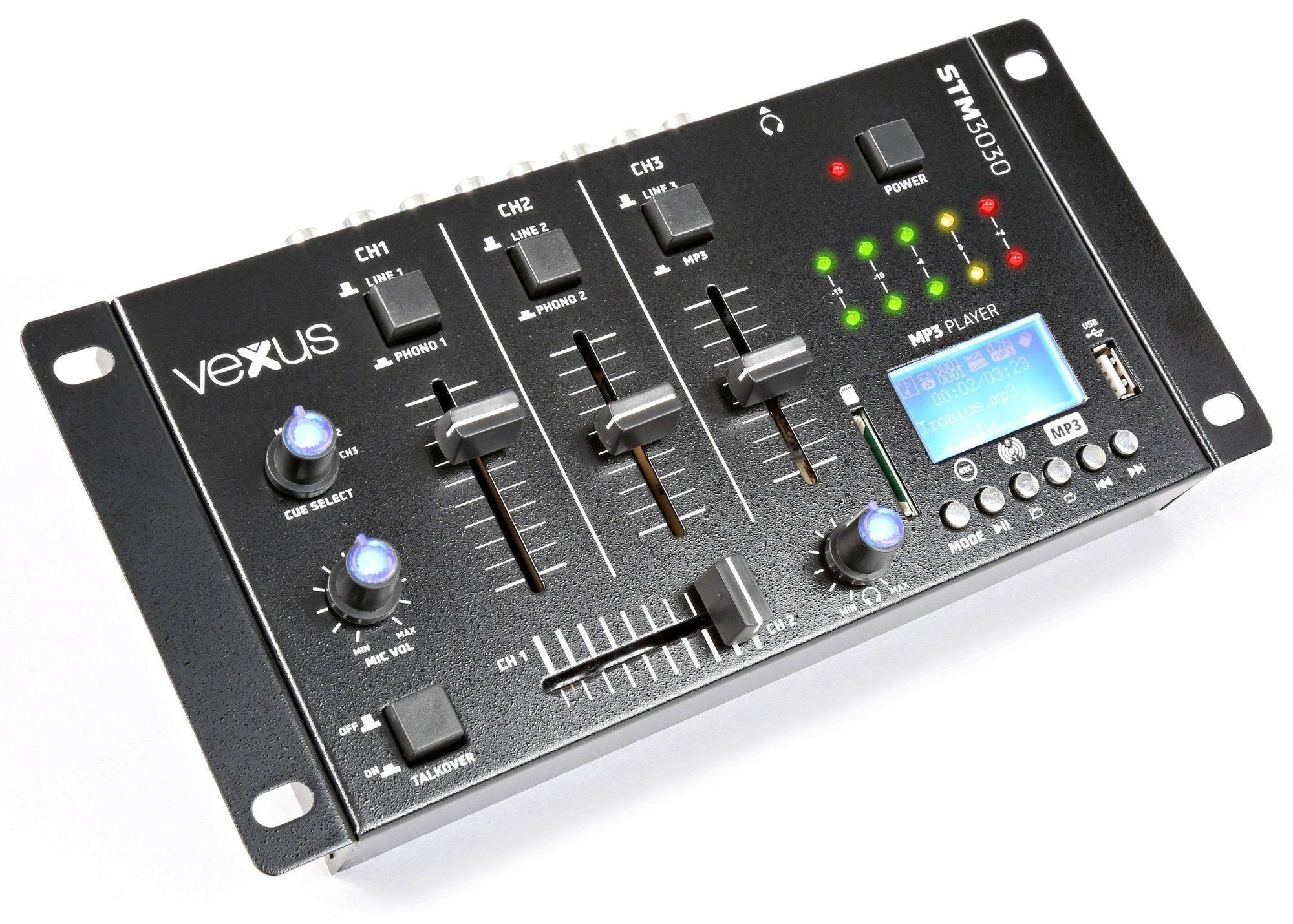 Vexus STM3030 4 kanaals mixer met USB/SD MP3, Bluetooth en record functie