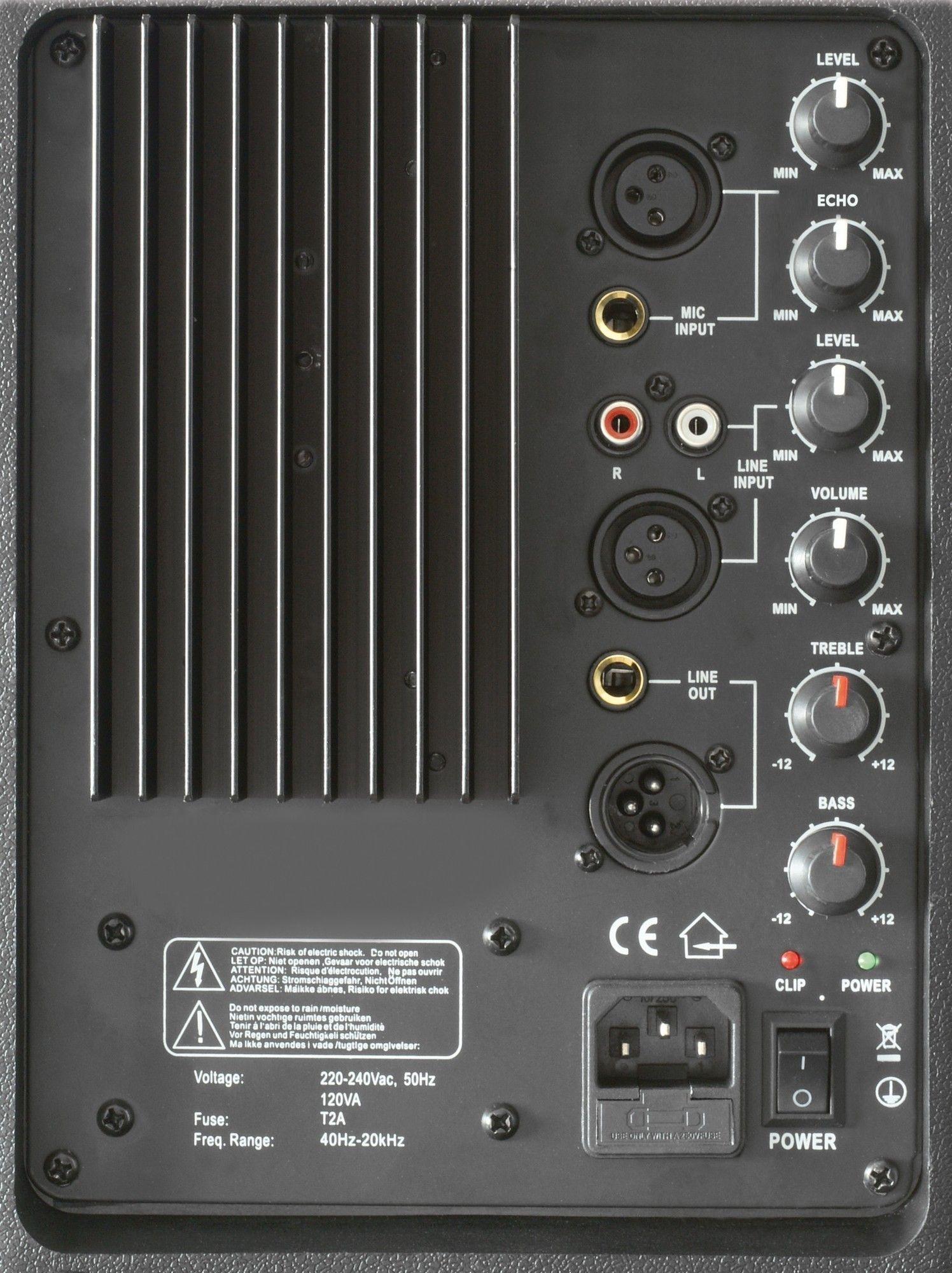 """SkyTec SPJ-1500A VHF actieve 15"""" speaker met draadloze microfoon 800 Watt thumbnail"""
