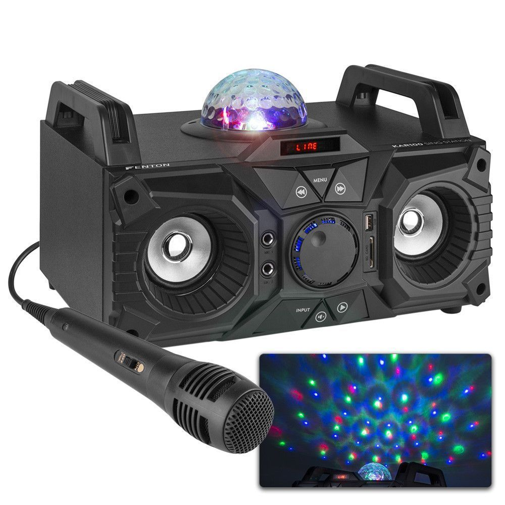 Afbeelding van Fenton KAR100 Singstation karaokeset 100W op accu met Bluetooth...