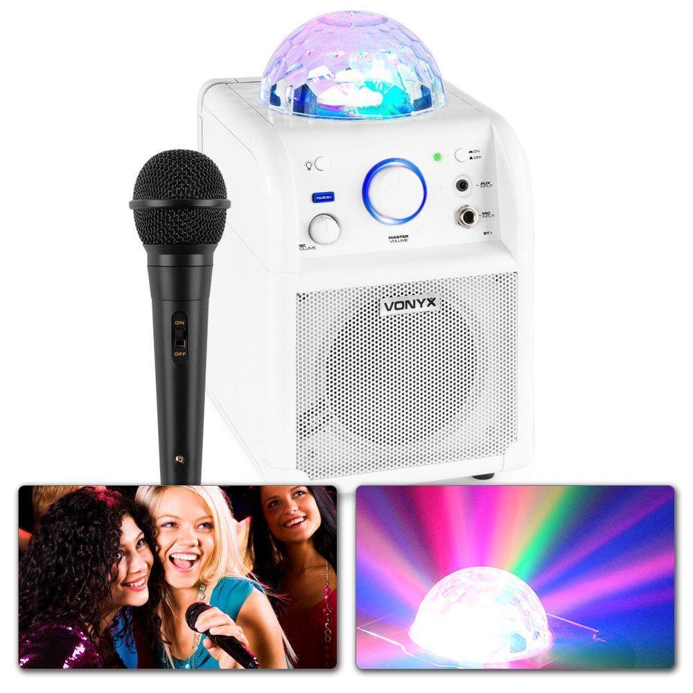 Afbeelding van 2e keus - Vonyx SBS50W Karaokeset met microfoon, Bluetooth en lichteff...