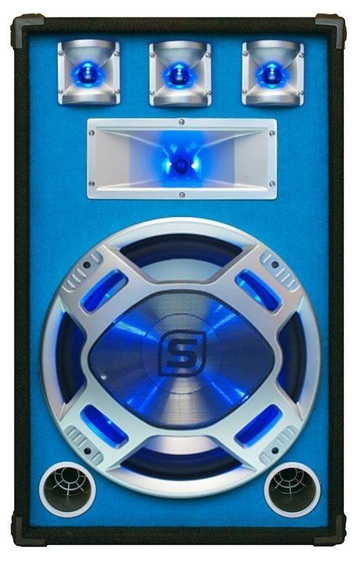 "Afbeelding van 2e keus - SkyTec PA DJ Luidspreker blauw 15"" 800W met LED Disco Verlic..."