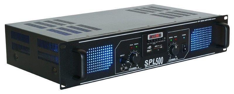 Afbeelding van 2e keus - SkyTec 2 x 250W DJ PA versterker SPL500MP3 met USB MP3 spele...