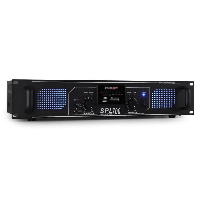 Afbeelding van 2e keus - SkyTec 2 x 350W DJ PA versterker SPL700MP3 met USB MP3 en FM...