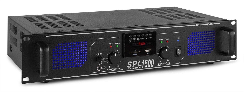 Afbeelding van 2e keus - SkyTec 2 x 750W DJ PA versterker SPL1500MP3 met USB MP3 spel...