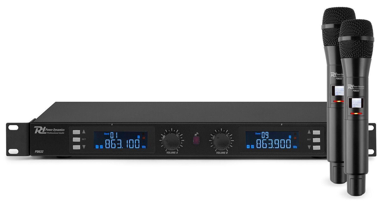 Afbeelding van Power Dynamics PD632H draadloos microfoonsysteem UHF met 2 hand microf...