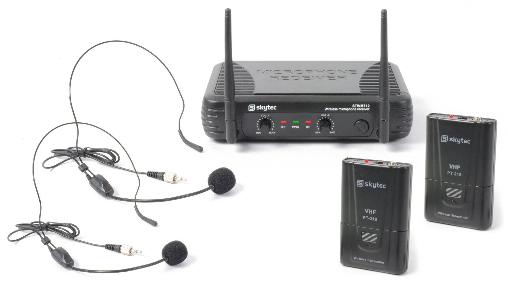 SkyTec STWM712H 2-kanaals VHF Draadloos Microfoonsysteem met headsets