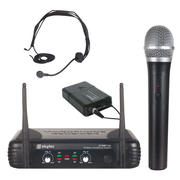 SkyTec STWM712C Draadloze VHF microfoon 2-kanaals met bodypack en headset