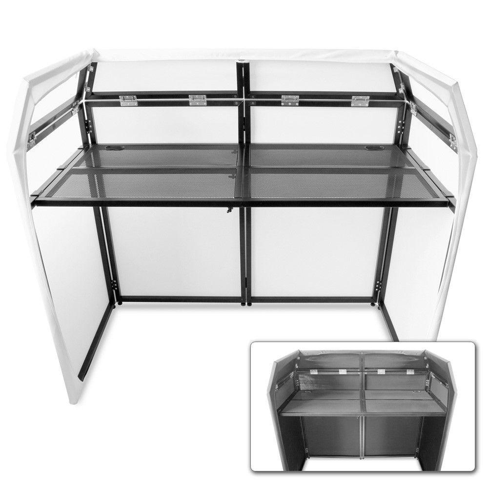 Afbeelding van 2e keus - Vonyx DB3 DJ Booth met zwarte en witte Lycra doeken...