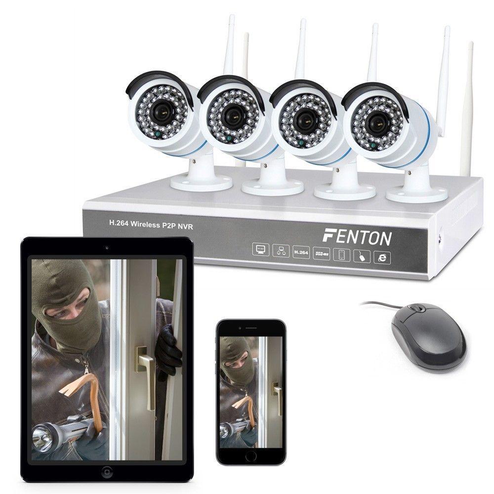 Dagaanbieding: Fenton draadloos camera systeem met 4 camera's en recorder