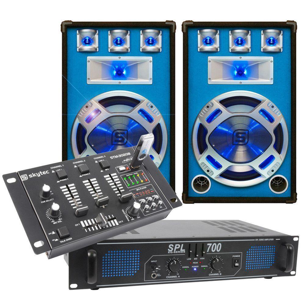 Complete 700W DJ Set met PA versterker Disco Luidsprekers en mixer met USB