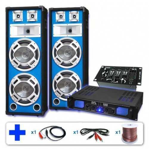 1000W PA DJ Versterker, Disco Luidsprekers en Mixer met USB MP3 thumbnail