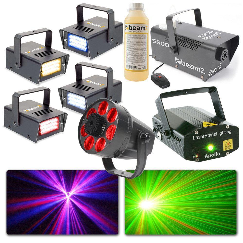 BeamZ lichtset met Rookmachine, LED lichteffect, Laser & 4x Stroboscoop