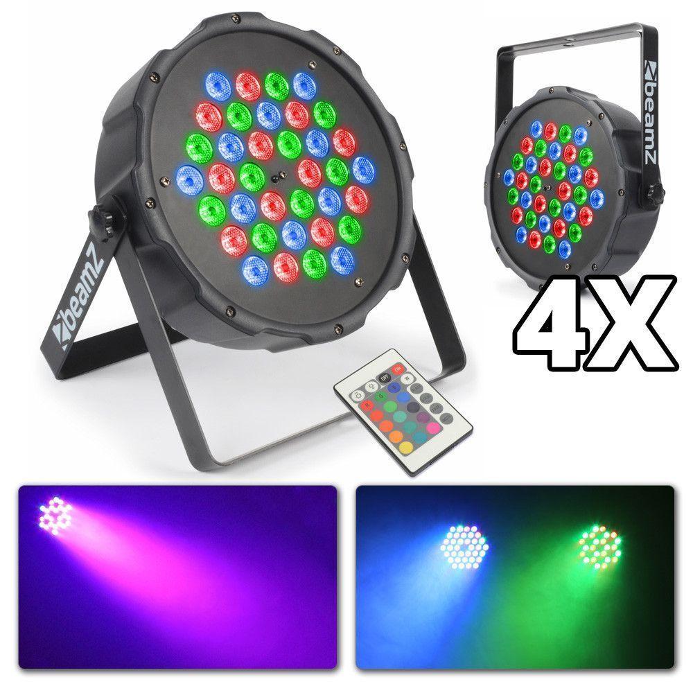 Set van 4 compacte RGB LED Spots met afstandsbediening van BeamZ