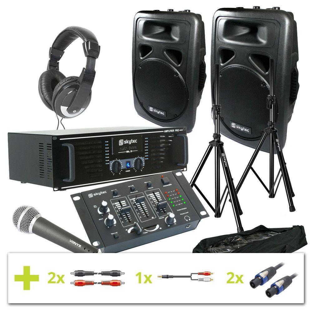 1000W PA Set met versterker, speakers met statieven, mixer, mic, hoofdtelefoon en kabels