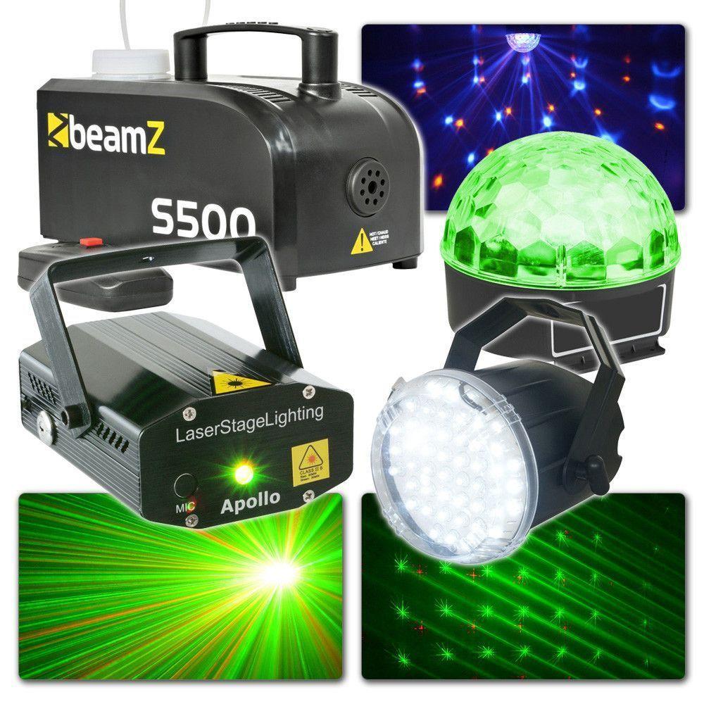 Afbeelding van BeamZ Disco Verlichting Set met Rookmachine, Laser, Jelly Ball en stro...