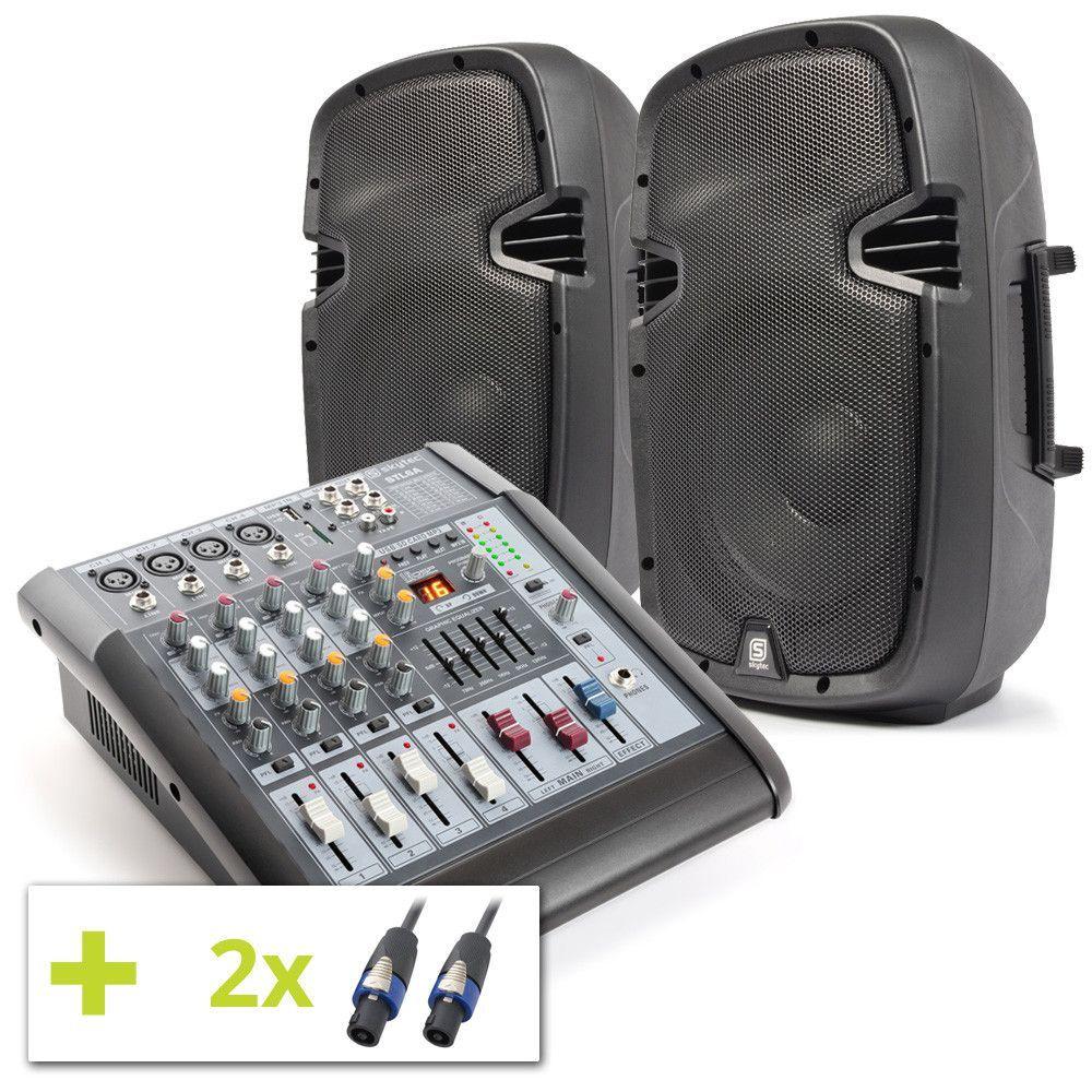 SkyTec 600W Actieve Mixer met SPJ1000D Speakers