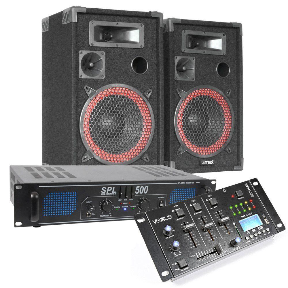 Afbeelding van MAX Complete 500W Bluetooth DJ Set met Speakers, Versterker en Mixer...