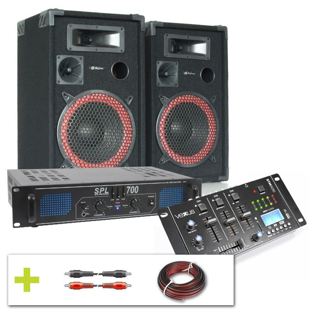 Complete 700W DJ installatie met Bluetooth en USB