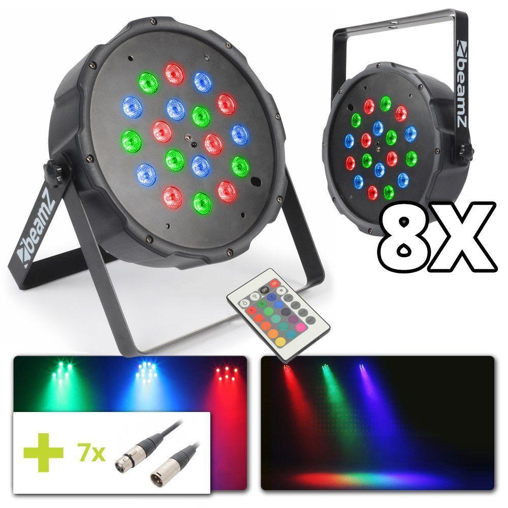 BeamZ lichtset met 8x 18W LED FLATPAR spots incl. kabels